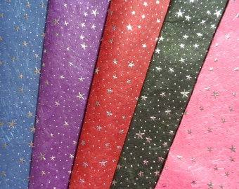 Luxury Cotton And Silk Paper Sheets With Silver Stars And Dots