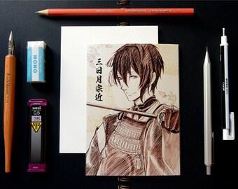 Touken Ranbu Sketch Anime Postcard - Mikazuki Munechika