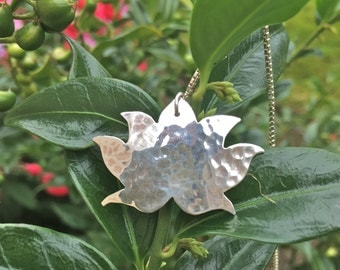 Sterling Silver Hammered Lotus Pendant