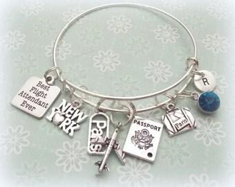 flight attendant gift, flight attendant charm bracelet, gift ideas for her, personalized gift ideas, travel charm bracelet, gifts for her