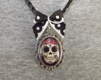 Candy Skull and Roses Cameo Necklace