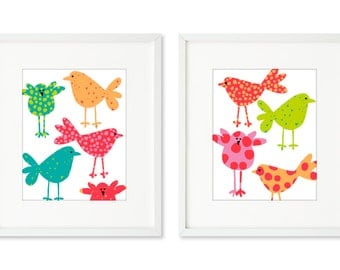 Polka Dot Chicks - SET OF 2 - 8x10 prints, chicks, chickens, polka dots, pink and red, bright colors, graphic animals, wall art, home décor