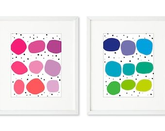 Chocolate Chips - SET OF 2 - 8x10 prints, contemporary abstract graphic, organic round shapes, happy colors, playful, fun, kid's room art
