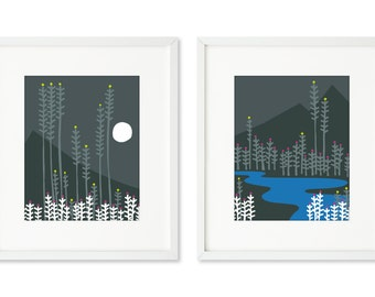 Mountain Night Light - SET OF 2 - 8x10 prints, Mountain and moonlight, mountain and lake, night time, wilderness, nature, forest, peaceful