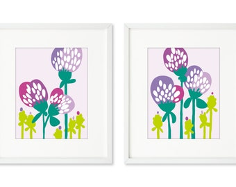 Thistles - SET OF 2 - 8x10 prints, thistles in a field, lavender and lime, graphic thistles, flowers in a field