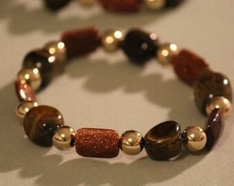 Gold & Caramel Stretch Bracelet