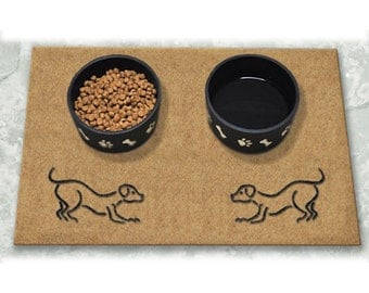 D60757 - 18 x 24 DuraCoir Pet Mat - Two Dogs Playing Non-Personalized