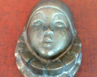 Vintage Brass Clown Face Wall Decoration Paper Weight