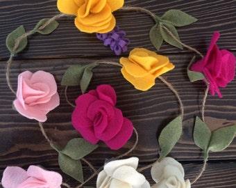 Rose Felt Flower Garland