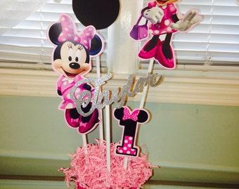 Minnie Mouse Birthday Centerpiece  Custom Centerpiece, Birthday Centerpiece, Disney Birthday Centerpiece