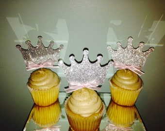 Princess Crown Cupcake Topper, Disney Princess Cupcake Topper, Birthday Cupcake Topper, Crown Cupcake Topper, Glitter Crown Cupcake Topper