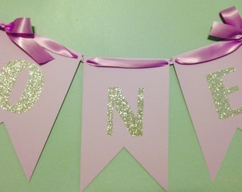 One Banner, Cake Smash Banner, Birthday Banner, Purple and Silver Banner, High chair Banner,Girl's First Birthday, First Birthday Banner