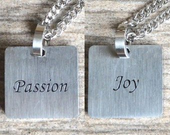 Passion & Joy - Inspirational / Expressional Double Sided Necklace Pendant Jewelry, Stainless Steel