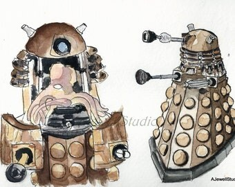 Dalek, Dr. Who, Exterminate,  Watercolor, Painting, Print