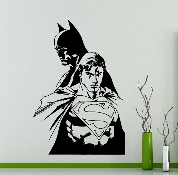 batman and superman wall sticker superhero dc marvel comics