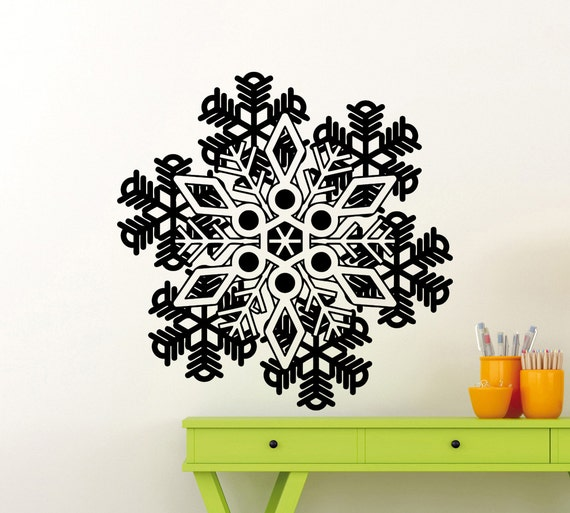 beautiful snowflake wall decal frozen winter new year. Black Bedroom Furniture Sets. Home Design Ideas