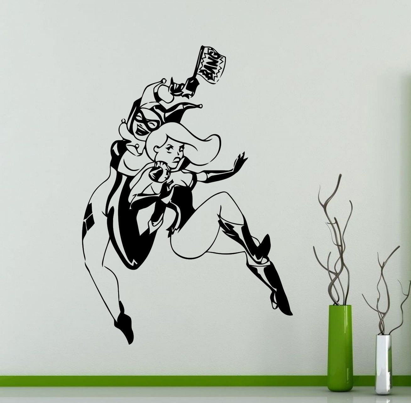 Wall Sticker Mirrors Harley Quinn And Poison Ivy Wall Sticker Comics Superhero