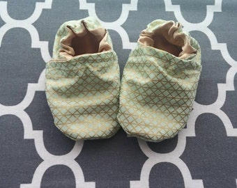 Gold soft cotton Itty Bitty baby shoes