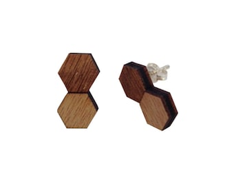 Hexagon Earrings Original Made in Melbourne Sterling Silver back