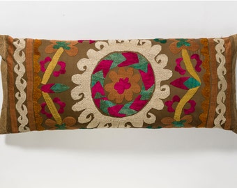 Suzani Pillow - Fuscia & Brown Flower