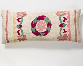 Suzani Pillow - Pink Flower
