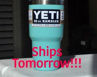FREE SHIPPING! 30oz Tiff/Seafoam/Teal Yeti Rambler Powder Coated | Gift for Her Girlfriend Gift