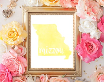 Missouri Tigers Watercolor State Printable (8x10)