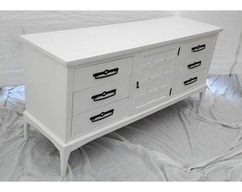 White Lacquered Mid-century Modern Triple Dresser
