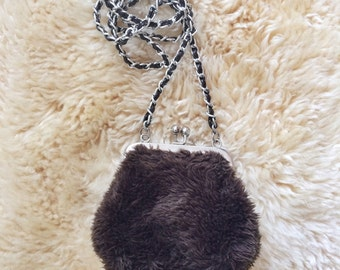 90s faux fur purse