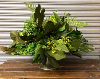 Evergreen Silk and Preserved Flower Arrangement with Preserved Salal and Blue Berries in Verdi Gris Metal Container.
