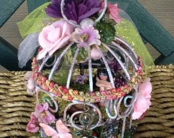 FAIRY HOUSE - Birdcage - Fairy Habitat - Pixie- Altered Birdcage - Fairy Dwelling -  Miniature - Fantasy - Shabby Chic - Belle- Free S/H