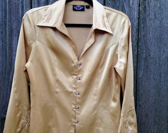 Vintage Harley Davidson Womens Gold Top Medium // Silver Clasp Front Harley Top // Silky Harley Davidson Blouse Golden // Motorcycle Momma