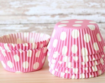 Pink and white polka dot cupcake liners set of 25-minnie mouse cupcake liners, pink polka dot cupcake wrappers, baby shower cupcake wrappers