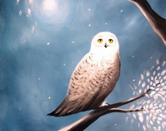 Snowy Owl Painting on Artboard