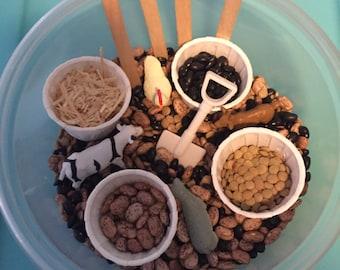 Small world beans sensory tub- Farm