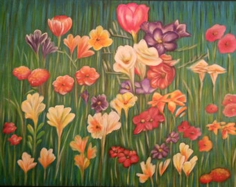 "Abstract painting ""Field Flowers"""