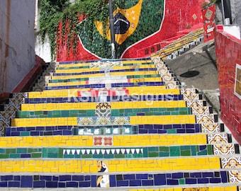 Tiled Brazilian Steps, Rio de Janeiro, Brazil Print