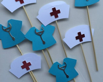 NURSES THEMED  cupcake toppers with hat and scrubs
