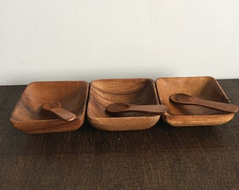 Vintage Wooden Condiment Bowls with Spoons
