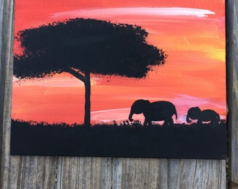 Elephant painting on 8 by 10 inch canvas