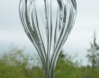 Rippled Raindrop - Hand Blown Glass Window Ornament