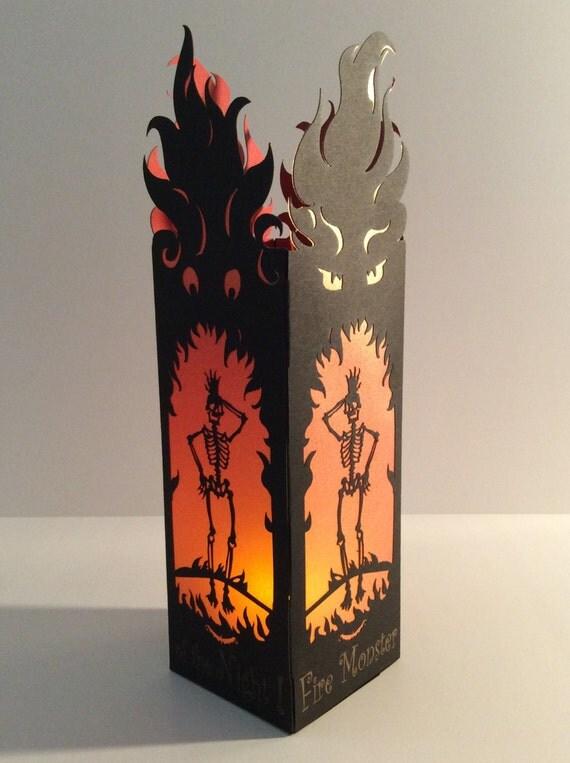 """Halloween Party Luminary """"Fire Monster""""- Laser cut Lantern"""