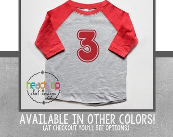 3 Birthday Shirt Toddler Boy/Girl Raglan - Twins/Triplets Three Raglan Bday Baseball tshirt - Raglan 3 Shirt Boy/Girl - 3rd B-Day t shirt -
