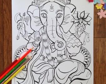 Ganesha Coloring Poster | Ganesha Colouring Poster | Coloring Poster | Colouring Poster | Spiritual Poster |