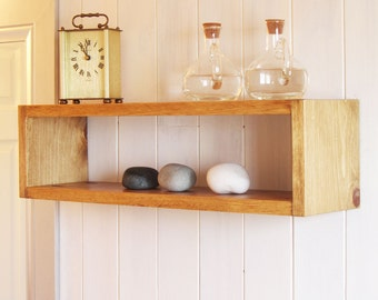 Simple Beautiful Floating Wood Cube Wall Shelf
