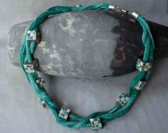 Ceramic necklace, turquise, green, linen ribbon, hand dyed