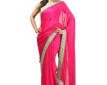 Magenta crape georgette saree with dabka work