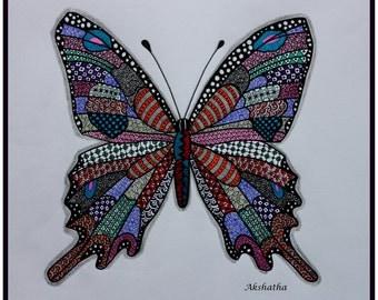 Butterfly Zentangle, Zentangle Art, Pen and Ink, Doodle Art, Animal Art, Butterfly Drawing