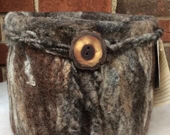 Wool Felted Vessel - Tree Bark
