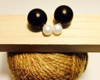 Black and White Earrings - Matt Colour - Stud Earrings